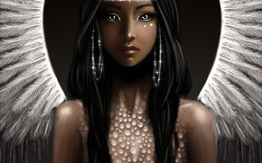 Picture look, fiction, hair, wings, angel, earrings, art
