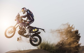 Picture Motorcycle, Racer, Sand, Dune, Speed, Day, Side view, Yamaha, Rally, Sport, Dakar, The sun, Moto