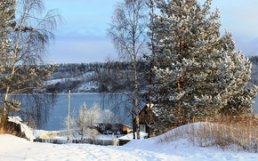 Picture Russia, winter, snow, nature, photo, trees, river