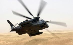 Wallpaper helicopter, turn, desert, flight