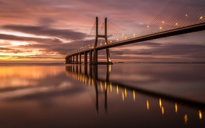 Wallpaper lights, bridge, the evening, Portugal