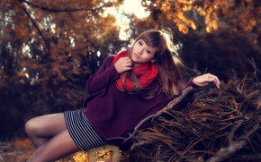 Picture look, leaves, girl, trees, pose, spring, Asian, jacket, binding, red scarf