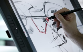Picture sketch, motorcycle, moto, hi-tech, designer, prepares, project, motorbike., Racer, Guzzi V7