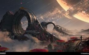 Picture landscape, fiction, planet, art, titanfall 2, space warp machine