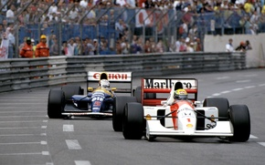 Picture Ayrton Senna, Nigel Mansell, McLaren MP4/7, Williams FW14B, GP Monaco, Season 1992