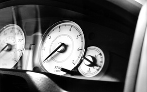 Picture black and white, speedometer, devices, tachometer, Crysler, 300C