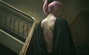 Picture girl, pink hair, woman, braid, tattoo, female, stairs, please, pony tail