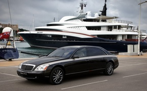 Wallpaper Black, Yacht, Maybach Zeppelin, Road