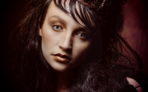 Picture eyes, look, girl, face, style, portrait, crown, makeup