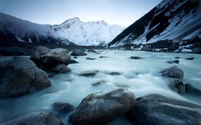 Picture winter, landscape, mountains, river, ice