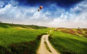 Wallpaper 157, field, hills, Road, balls, clouds