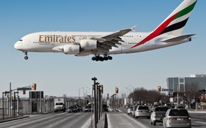 Picture The city, The plane, Machine, A380, The rise, Passenger, Airbus, Side view, Airliner, Emirates Airline