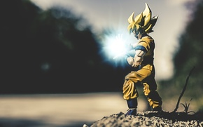 Wallpaper trees, river, toys, power, Dragon Ball Z, Super Saiyan Son Goku