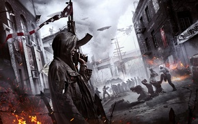 Picture The sky, Fog, The city, Smoke, Fire, People, Light, Apocalypse, Flags, Building, Weapons, Flame, Crytek, …