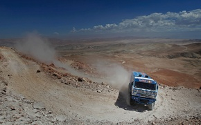 Picture sand, mountains, stones, desert, the rise, dust, dal, turn, master, truck, rally, rally, KAMAZ, kamaz, …