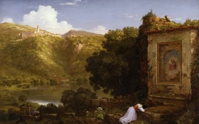 Picture the sky, landscape, mountains, lake, picture, prayer, Thomas Cole