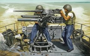 Picture fire, art, artist, soldiers, machine gun, USA, sea, system, M2 Browning, infantry, Browning, machine gun, ...