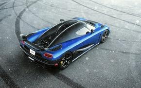 Picture Koenigsegg, Blue, Snow, Agera, View, Supercar, Rear, Top