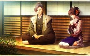 Picture hairstyle, kimono, two, veranda, visual novel, toki no kizuna, yukina suzmori, motoyasu mouri, by miko