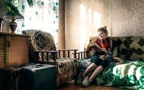 Picture girl, cats, sofa, furniture, old house, Maxim Guselnikov, Irina Popova, Cat Lady