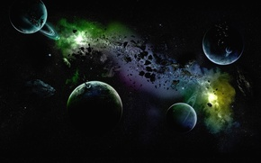 Picture the sky, the universe, planet, ring, asteroid