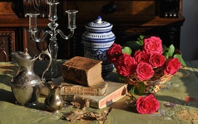Picture flowers, style, books, roses, still life, candle holder, pitchers