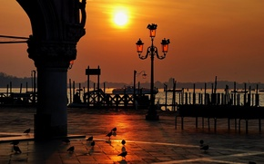 Picture water, sunset, Venice, Italy, Piazza San Marco, wonare, the Doge's Palace