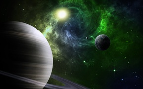 Picture space, stars, earth, the moon, planet, ring, satellites, Saturn
