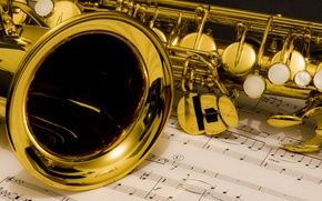Picture saxophone, notes, music