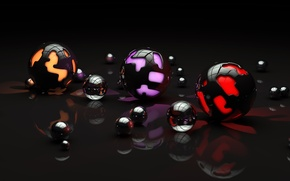 Picture surface, light, reflection, balls, pattern, art, different, sphere