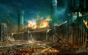 Picture war, The Lord Of The Rings, storm, The Lord of the Rings, Minas Tirith