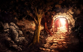 Wallpaper the sun, light, trees, stones, art, masonry, arch, the tunnel, output, entrance