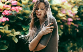 Picture girl, face, background, the wind, model, hair, hands
