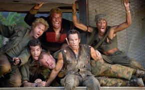 Picture the film, actors, Robert Downey Mladshiy, Ben Stiller, nick Nolte, thunder, Jay baruchel, Jack black, …