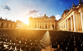 Picture the sun, sunset, the city, people, chairs, area, Rome, Italy, Cathedral, Italy, Rome, The Vatican, ...