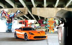 Picture srt, viper, graffiti, dodge, muscle, power, front, america, orange, face, v10, street art