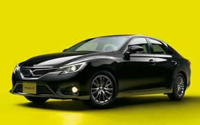 Picture black, Toyota, car, yellow background, Mark X 2
