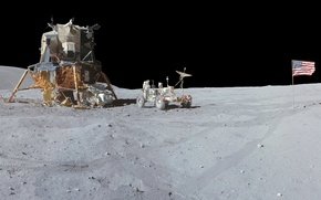 Picture The moon, NASA, lander, Apollo