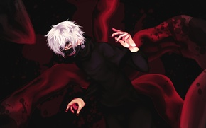 Picture look, blood, mask, guy, gesture, art, tokyo ghoul, Ken kanek, claw, Kou-Yuu