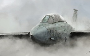 Picture fog, the plane, smoke, art