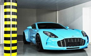 Picture Aston Martin, supercar, One-77, sky blue