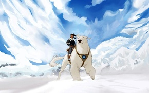 Picture the sky, girl, clouds, snow, anime, bear, Naga, The Avatar Times