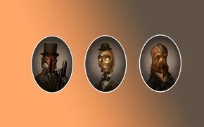Picture Star Wars, fantasy, movie, steampunk, film, portrait, Boba Fett, Chewbacca, C3PO, victorian