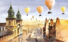 Picture the city, balloons, people, figure, rails, home, art, Tytus Brzozowski