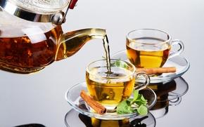 Picture glass, reflection, tea, kettle, Cup, cinnamon, mint, welding