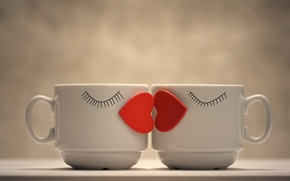 Picture love, creative, mood, two, positive, heart, pair, Cup, red, mugs, sponge, kiss, coffee, bokeh, wallpaper., ...