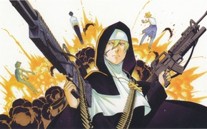 Picture the explosion, cross, machine, machine gun, cartridges, nun, art, sister, Kappa.star, arakawa under bridge, cole's …