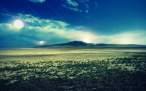 Wallpaper the sky, grass, the sun, clouds, trees, landscape, mountains, nature, blue