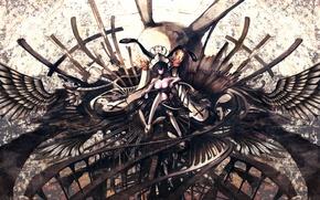 Picture chest, girl, crosses, skull, wings, anime, crown, art, iori