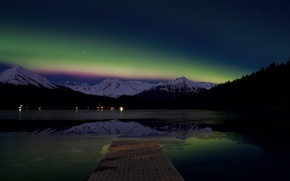 Picture Alaska, northern lights, aurora borealis, Auke Lake
